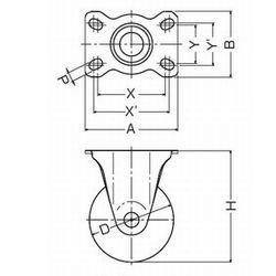 画像2: 固定キャスタープレート式(ストッパー無)ハンマーキャスター
