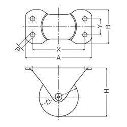 画像2: 固定キャスタープレート式(ストッパー無) ハンマーキャスター